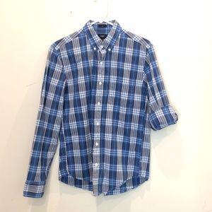 J. Crew Men's Medium Slim Blue Plaid Shirt